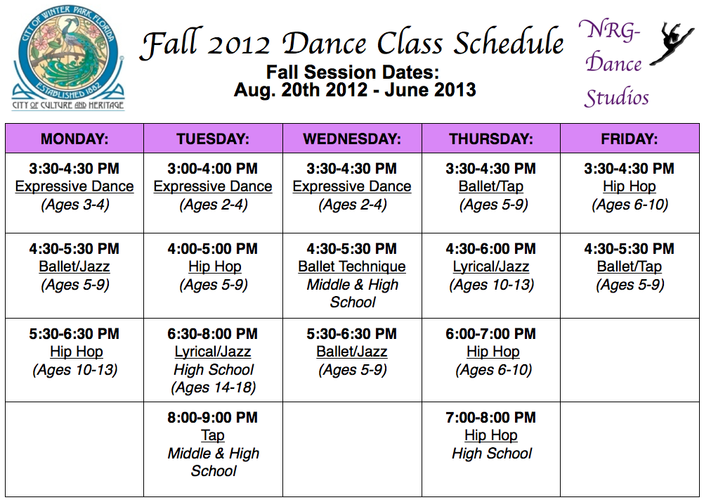 Winter park dance studios winter park dance studio 1st dance class choose dance classes to enroll in from the fall 2012 dance class schedule above maxwellsz